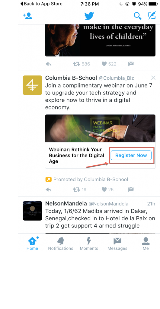 Columbia Business School Twitter Lead Generation Card via blog.adstage.io