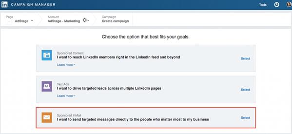 LinkedIn Sponsored InMail Select Campaign Window via blog.adstage.io