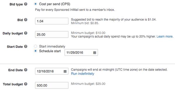 LinkedIn Sponsored InMail Cost Per Send Budget Window via blog.adstage.io
