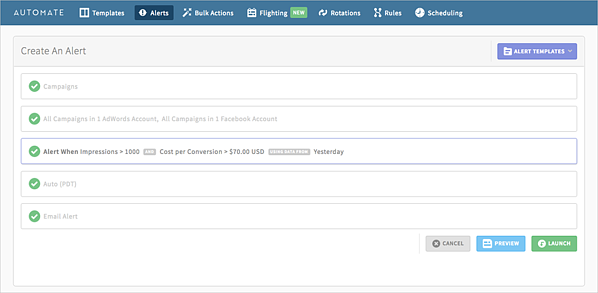 automated alerts to monitor cost per acquisition