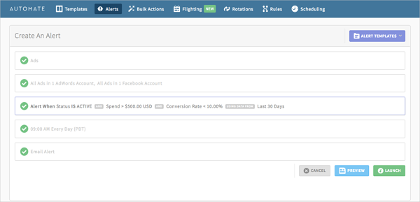 automated alerts to monitor PPC conversion