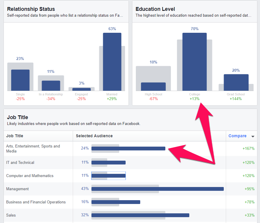 facebook audience education and job title