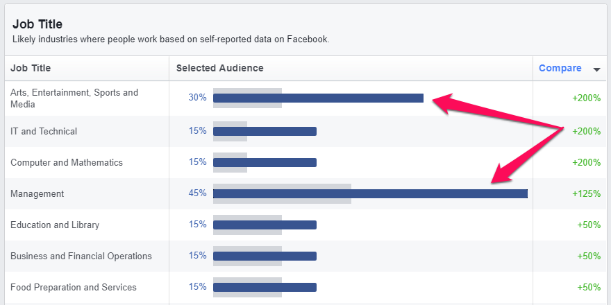 facebook audience job title