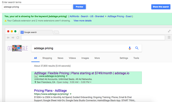 AdWords Ad Preview and Diagnosis