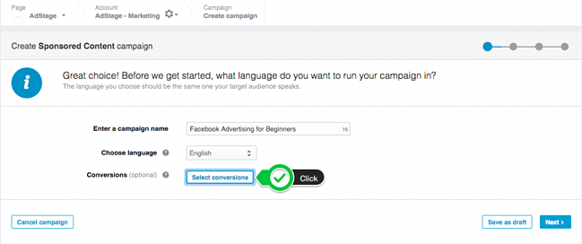 Create New LinkedIn Conversion Tracking Campaign via Blog AdStage