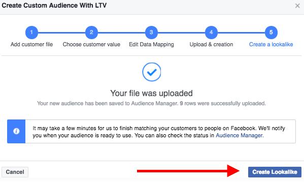 Create a LTV lookalike audience