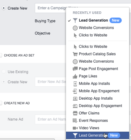 Lead Generation Campaign Objective