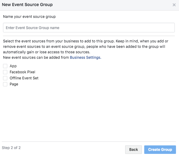 Facebook Analytics Events Source Groups