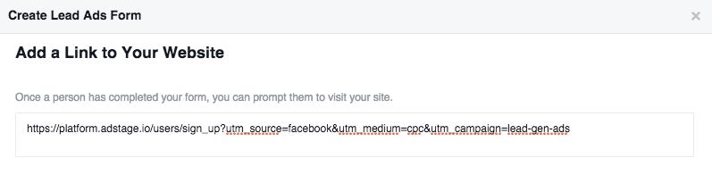 Facebook Lead Ads_Form Destination URL