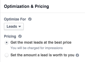 Pricing options for Facebook Lead Ads