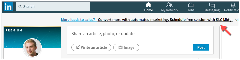 Top Line Text Ads in LinkedIn Update Feed