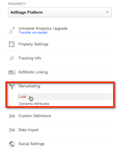 Google Analytics Remarking Lists
