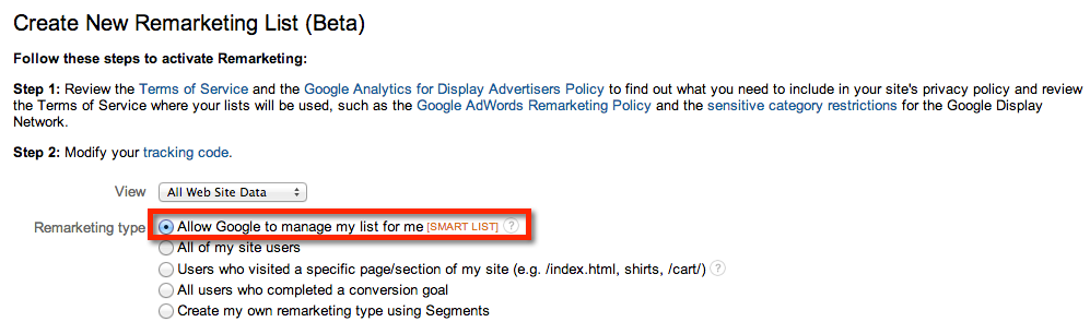 Google Remarketing Smart List