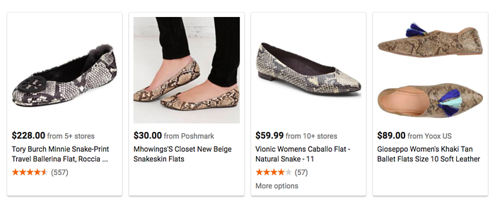 Google Shopping Ads display everything from large retailers to second hand sellers like Poshmark.