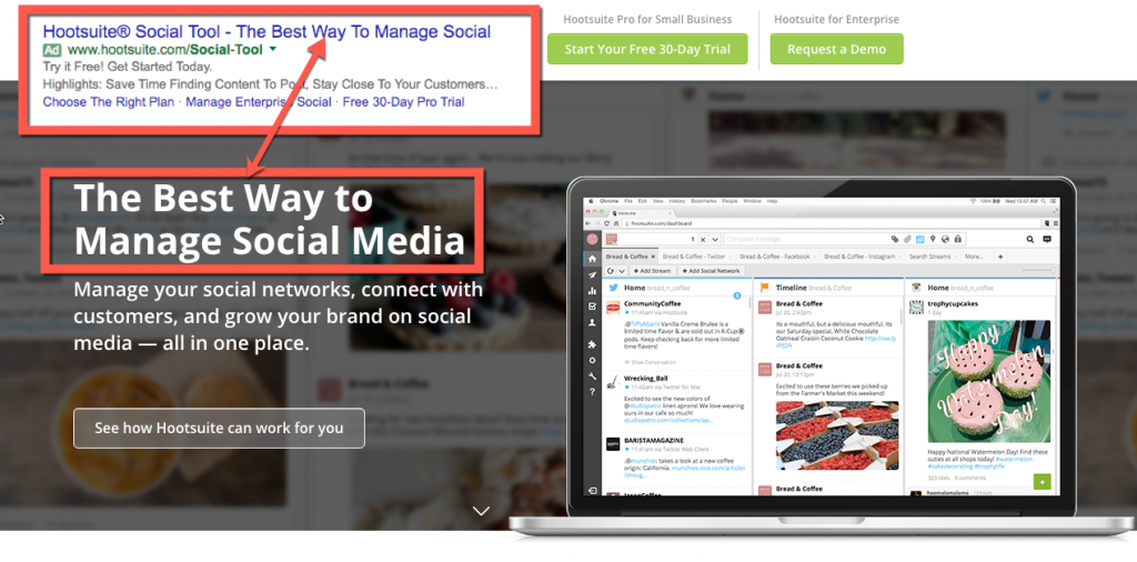 Hootsuite ad headline 5 Easy Ways to Boost PPC Landing Page Conversions via blog.adstage.io