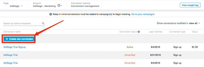Create New Conversion LinkedIn Tracking Blog AdStage