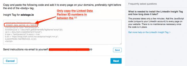 linkedin insight tag partner id via blog.adstage.io