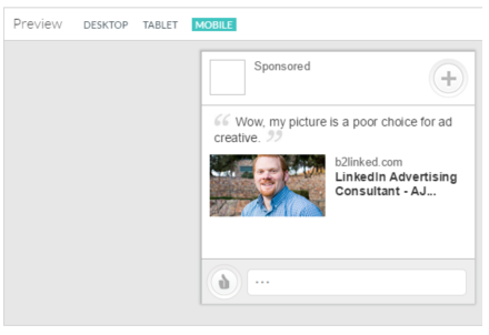 LinkedIn Sponsored Content Ad Preview in AdStage