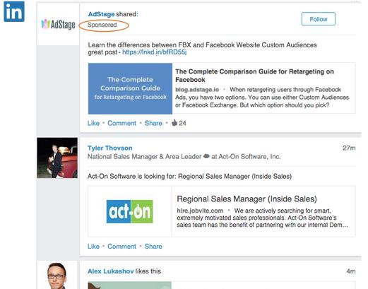LinkedIn_Sponsored Updates Example