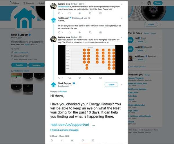 twitter customer service example