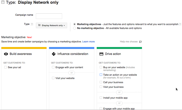 Google Display Campaign Marketing Objectives
