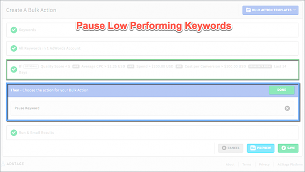Pause Low Performing Keywords Automate Bulk Actions via blog.adstage.io