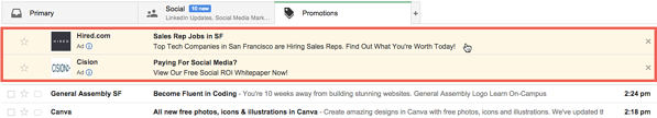 Gmail Ads - Promotions tab