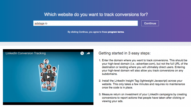 Add Domain LinkedIn Conversion Tracking