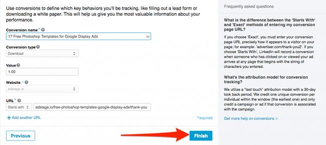 Create New Conversion Action LinkedIn Ads via blog.adstage.io