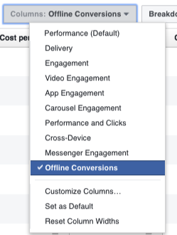 Facebook columns offline conversions