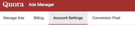 Quora Ads Manager Account Settings