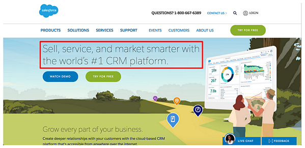 converting landing pages example -- salesforce