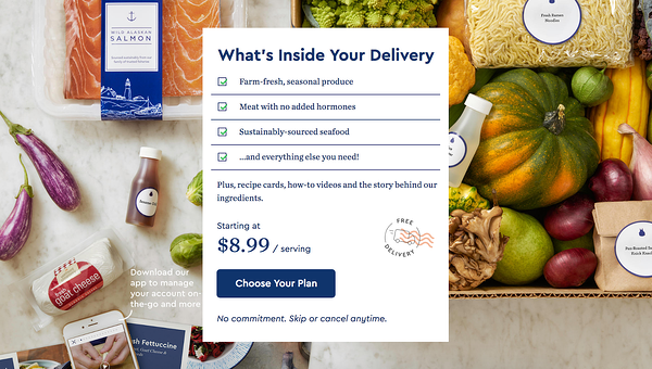 converting landing pages example -- blue apron