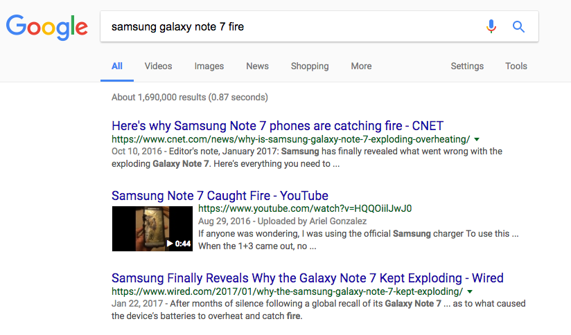 samsung galaxy note 7 fire search
