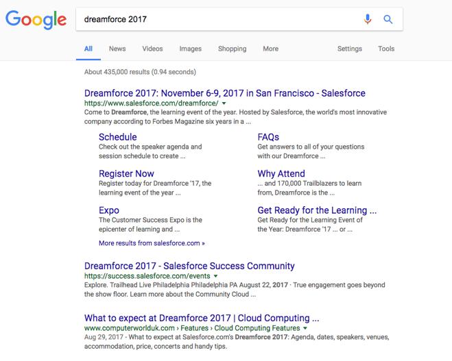 dreamforce 2017 google search