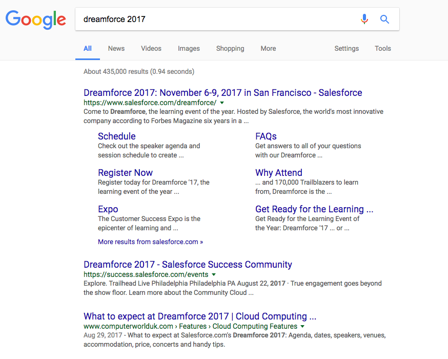 dreamforce 2017 google search