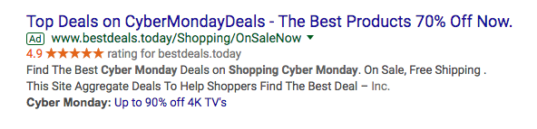 adwords cyber monday ads example extensions