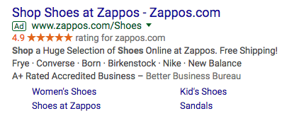 zappos adwords ad cyber monday