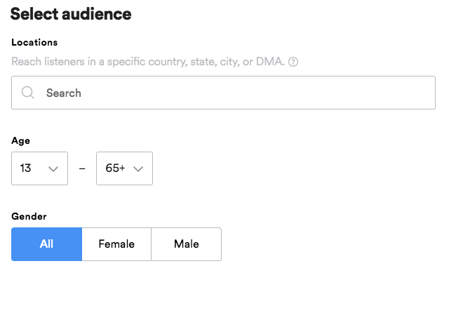 spotify ads audience selector