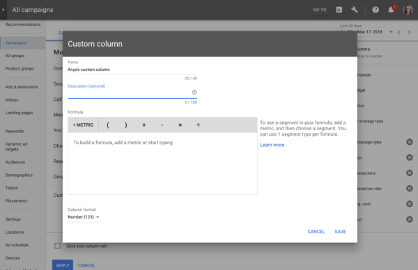 custom metrics new adwords UI