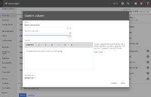 custom metrics new adwords UI