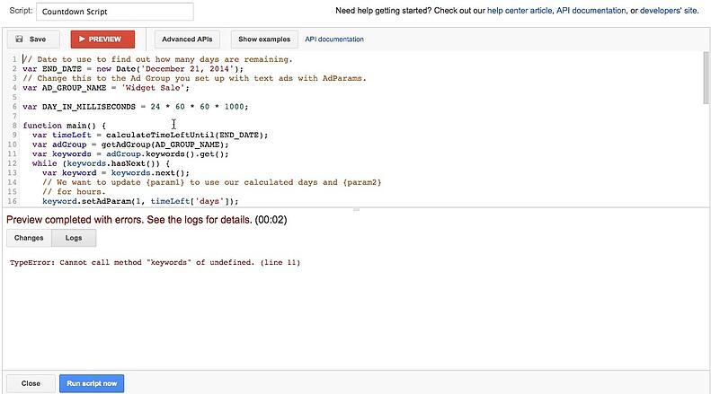 adwords script example log details