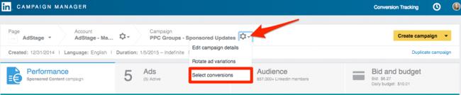 Select Conversions LinkedIn Conversion Tracking