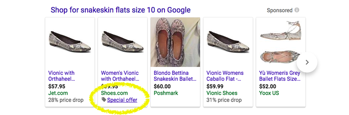 Special offers appear in Google Shopping Ads without expanding allowing you to advertise deals for free.