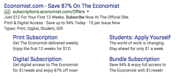 The Economist AdWords Ad