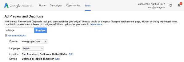 Google AdWords Ad Preview and Diagnosis