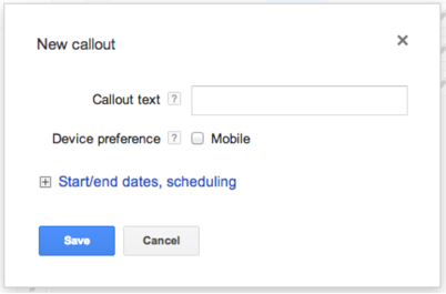 Create a Google AdWords Callout Extensions