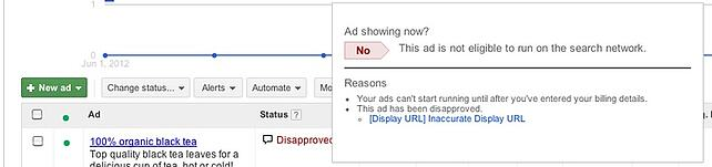 Disapproved ad in AdWords