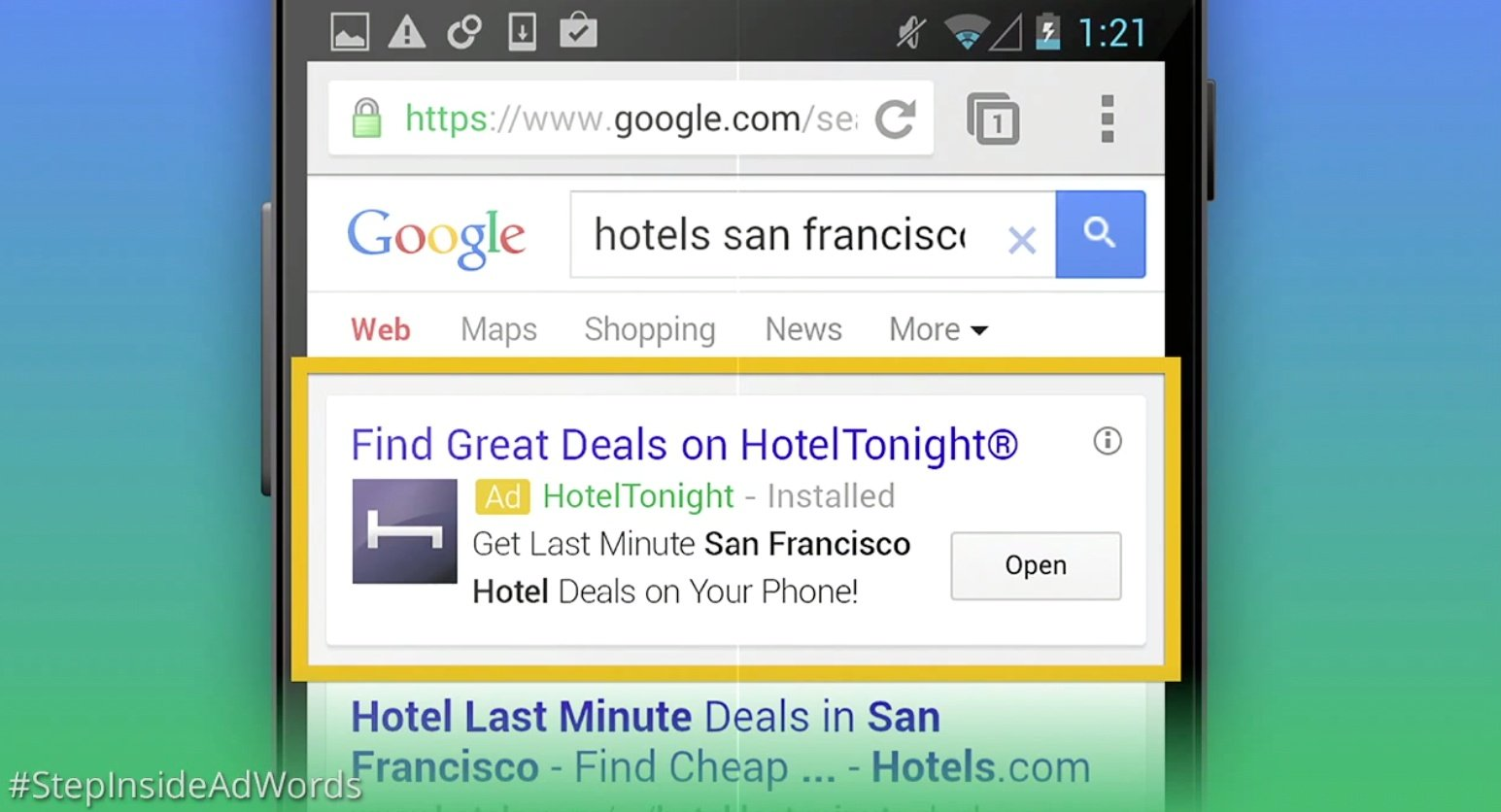 adwords mobile app engagment ad
