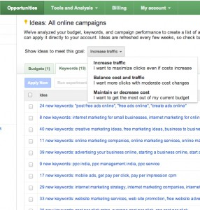 AdWords Opportunities Tab